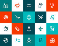 Scuba diving icons. Flat style Stock Images