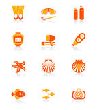 Scuba diving icons | JUICY series Royalty Free Stock Photos