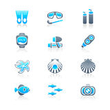 Scuba diving icons | MARINE series Stock Photos