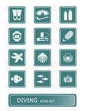 Scuba diving icons | TEAL series Stock Photography