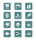 Scuba diving icons | TEAL series Stock Photos