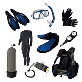 Scuba diving icons Stock Photos