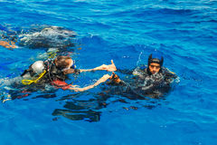 Scuba diving lesson Stock Images