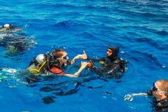 Scuba diving lesson Stock Photos