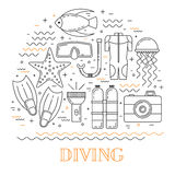 Scuba diving line art background. With mask, fins, wetsuit and fish Royalty Free Stock Photography