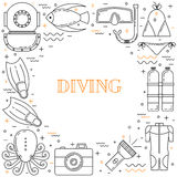 Scuba diving line art background. With mask, fins, wetsuit and fish Royalty Free Stock Image