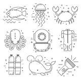 Scuba diving line art icons. Scuba diving line art background with whale, jellyfish, wetsuit and fish Stock Photography