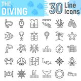 Scuba diving line icon set, underwater symbols Royalty Free Stock Photos