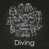 Scuba diving linear equipment on chalkboard background. Stock Photos