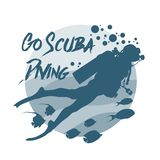 Scuba diving logo. Vector logotype or badge for Diving Center. Scuba diver silhouette Stock Images