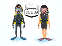 Scuba diving. male and female character  Royalty Free Stock Image