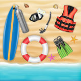 Scuba diving object on a sea sand beach Royalty Free Stock Images