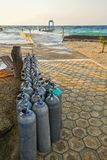 Scuba Diving Oxygen Tanks Tropical Resort Beach Caribbean Sea Cozumel Mexico stock photography