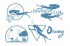 Scuba-diving. Vector Diver logo Royalty Free Stock Images