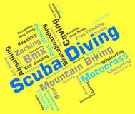 Scuba Diving Shows Divers Word And Underwater Stock Image