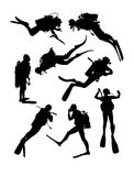 Scuba Diving Silhouettes Royalty Free Stock Photos