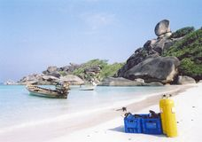 Scuba diving similian islands beach thailand Royalty Free Stock Images