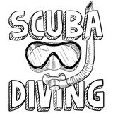 Scuba diving sketch. Doodle style scuba diving illustration in vector format. Includes text, diving mask, and snorkel Royalty Free Stock Photos