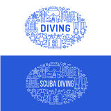 Scuba diving, snorkeling banner illustration. Water sport vector flat line icons, summer activity. Spearfishing. Equipment brochure, poster design.  on white Stock Image