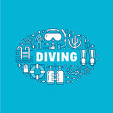 Scuba diving, snorkeling banner illustration. Water sport vector flat line icons, summer activity. Spearfishing Royalty Free Stock Images