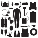 Scuba Diving and Snorkeling Gear Icons. Scuba elements and snorkeling gear silhouette set. Diving kit. Scuba-diving vector icons in outline design. Underwater Stock Photo