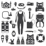 Scuba Diving and Snorkeling Gear Icons. Snorkeling gear set. Scuba elements. Diving kit. Scuba-diving vector icons in outline design. Underwater activity Royalty Free Stock Images