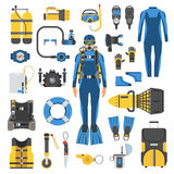 Scuba Diving and Snorkeling Gear Set. Diving set of elements. Diver man in wetsuit, scuba gear and accessories. Scuba-diving icons. Underwater activity Royalty Free Stock Photo