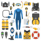 Scuba Diving and Snorkeling Gear Set. Snorkeling gear set. Scuba elements. Diving kit. Scuba-diving vector icons  on white background. Underwater activity Royalty Free Stock Photos