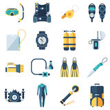 Scuba Diving and Snorkeling Icons. Scuba equipment and dive gear icon set. Snorkeling and diving icons. Scuba-diving accessories  on white background. Underwater Royalty Free Stock Photography