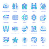 Scuba diving, snorkeling line icons. Spearfishing equipment - mask tube, flippers, swim suit, diver. Water sport, summer. Activity thin linear signs, blue color Royalty Free Stock Image