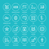 Scuba diving, snorkeling line icons. Spearfishing equipment - mask tube, flippers, swim suit, diver. Water sport, summer Stock Photography
