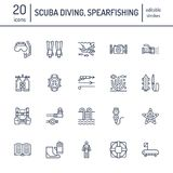 Scuba diving, snorkeling line icons. Spearfishing equipment, mask, tube, flippers, swim suit. Water sport thin linear. Scuba diving, snorkeling line icons Royalty Free Stock Photography