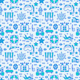 Scuba diving, snorkeling seamless pattern, water sport vector blue background. Summer activity cute repeated wallpaper. With spearfishing equipment icons - mask Royalty Free Stock Photos