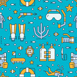 Scuba diving, snorkeling seamless pattern, water sport vector blue background. Summer activity cute repeated wallpaper Stock Photos