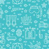 Scuba diving, snorkeling seamless pattern, water sport vector blue background. Summer activity cute repeated wallpaper. With spearfishing equipment icons - mask Royalty Free Stock Photography