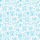 Scuba diving, snorkeling seamless pattern, water sport vector blue background. Summer activity cute repeated wallpaper. With spearfishing equipment icons - mask Stock Image