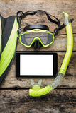 Scuba diving or snorkelling lesson template mock-up background Royalty Free Stock Photography