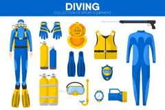 Scuba diving sport equipment snorkeling diver garment clothing accessory vector icons set. Scuba diving sport equipment and snorkeling diver garment clothing Stock Photos
