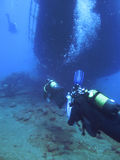 Scuba diving. sunken ship Royalty Free Stock Photography