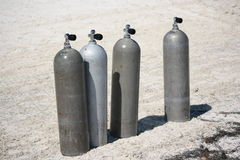 Scuba diving tanks. Image of scuba diving tanks on the beach Royalty Free Stock Image