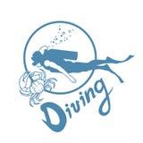Scuba-diving. Vector Diver logo Royalty Free Stock Image