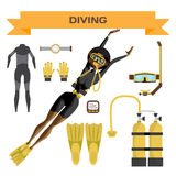 Scuba diving vector equipment. A young afro woman in gear dives. Royalty Free Stock Photography