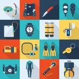 Scuba Diving Vector Icon Set Stock Photography