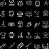 Scuba diving white line icons collection Royalty Free Stock Photography