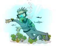 Scuba-duiker Royalty-vrije Stock Afbeeldingen