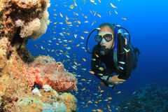 Scuba-duiker en Scorpionfish royalty-vrije stock fotografie
