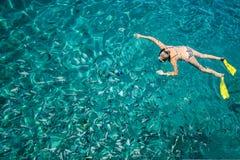 Scuba-duiker met vinnen die in het overzees in duidelijk water drijven, Royalty-vrije Stock Afbeelding