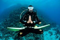 Scuba-duiker op een duikvlucht stock afbeeldingen
