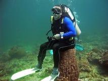 Scuba-duiker op overzees toilet, Thailand Stock Fotografie