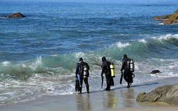 Scuba-duikers in Moss Street Cove, Laguna Beach, Californië stock foto